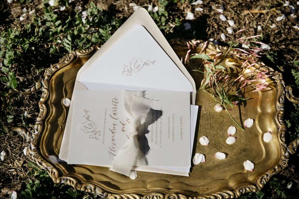 wedding invitation in an orchard