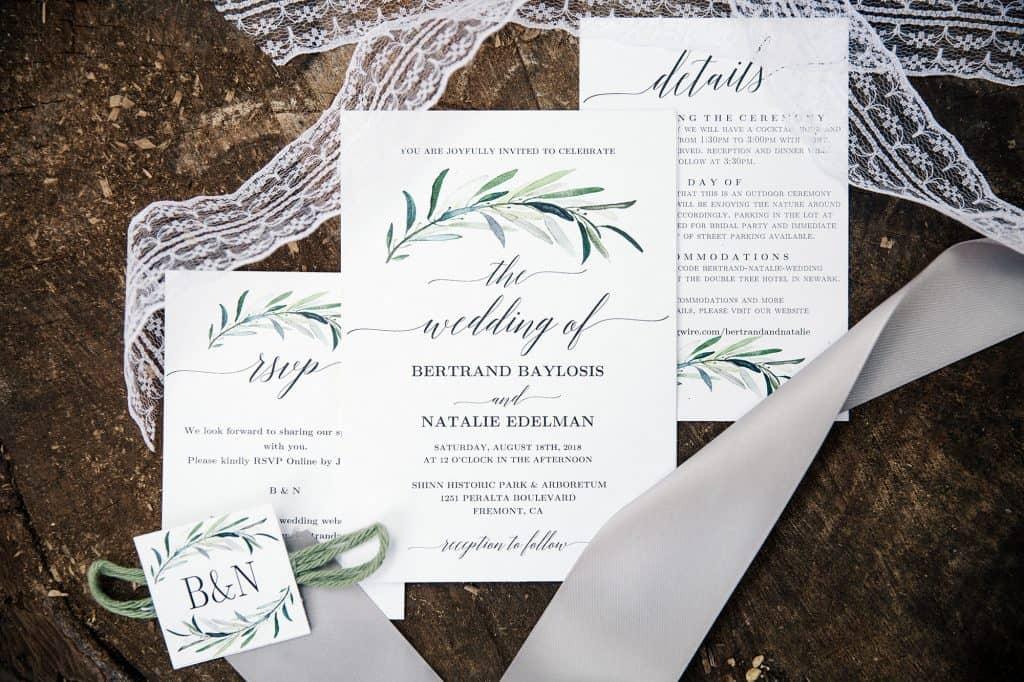 wedding invitations at DIY wedding in california