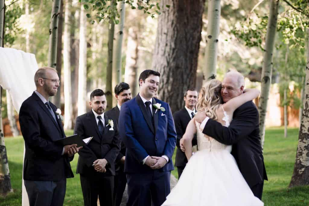 bride hugs uncle