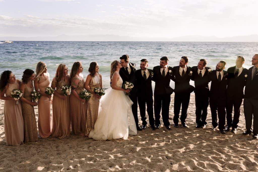 wedding party at lake tahoe
