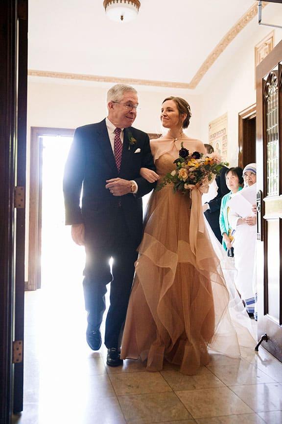 bride enters the church