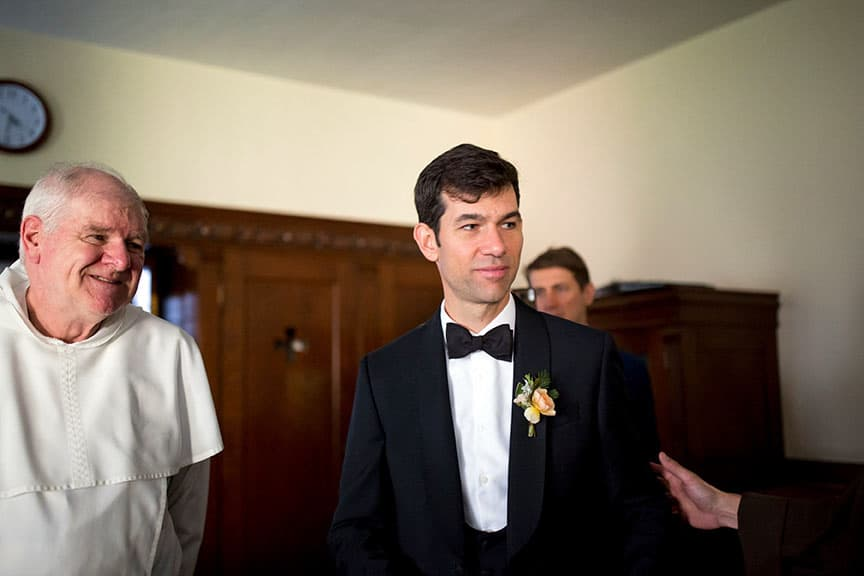 Groom and priest