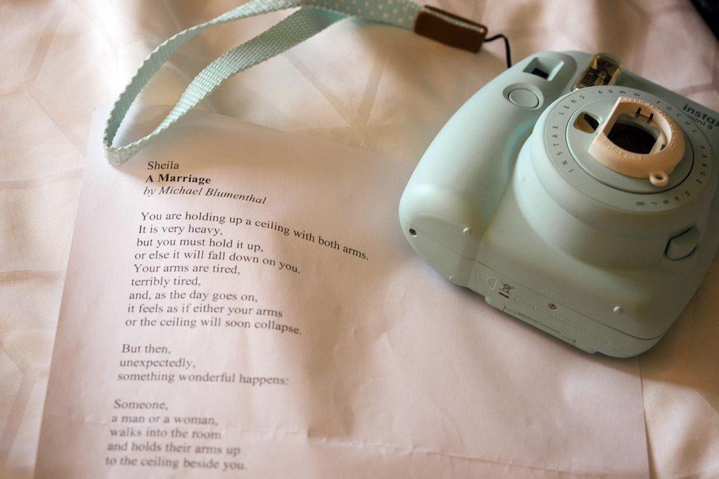 Instax camera and wedding speech