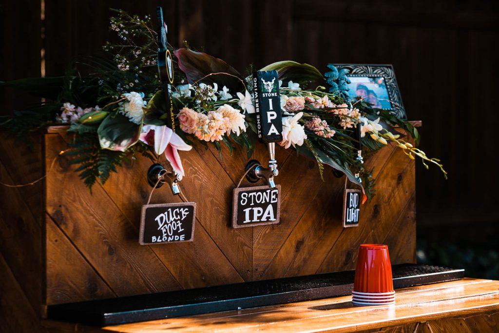 home made bar at hawaiian wedding
