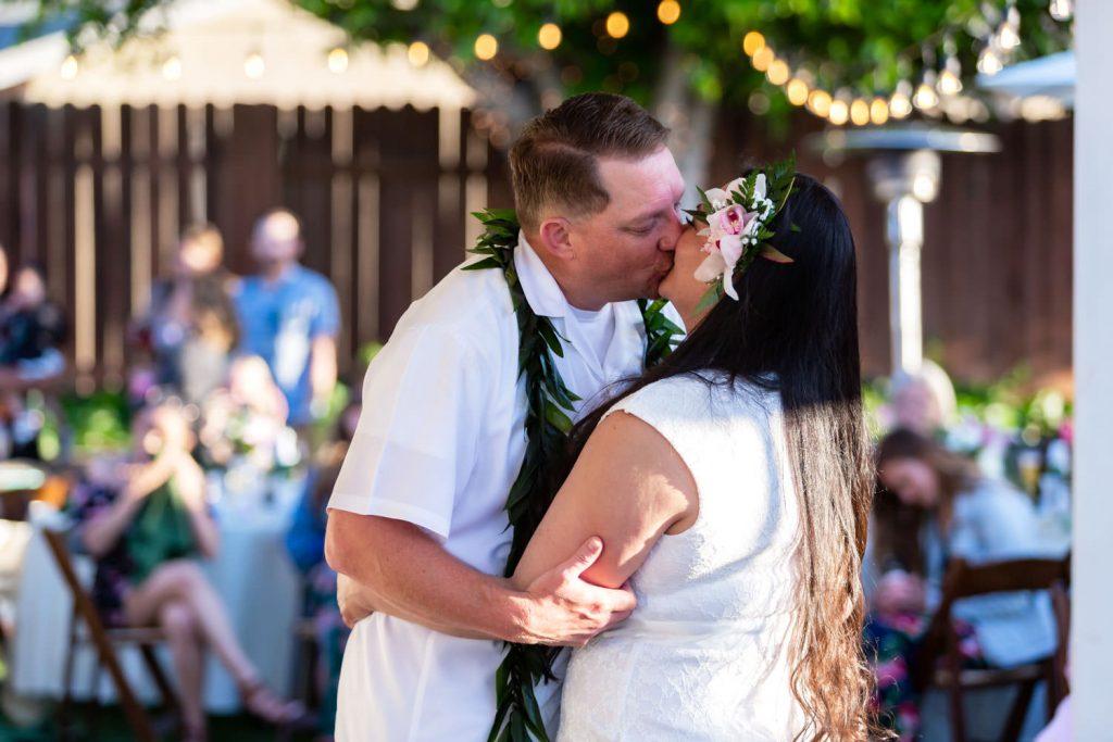 first dance at hawaiian backyard wedding