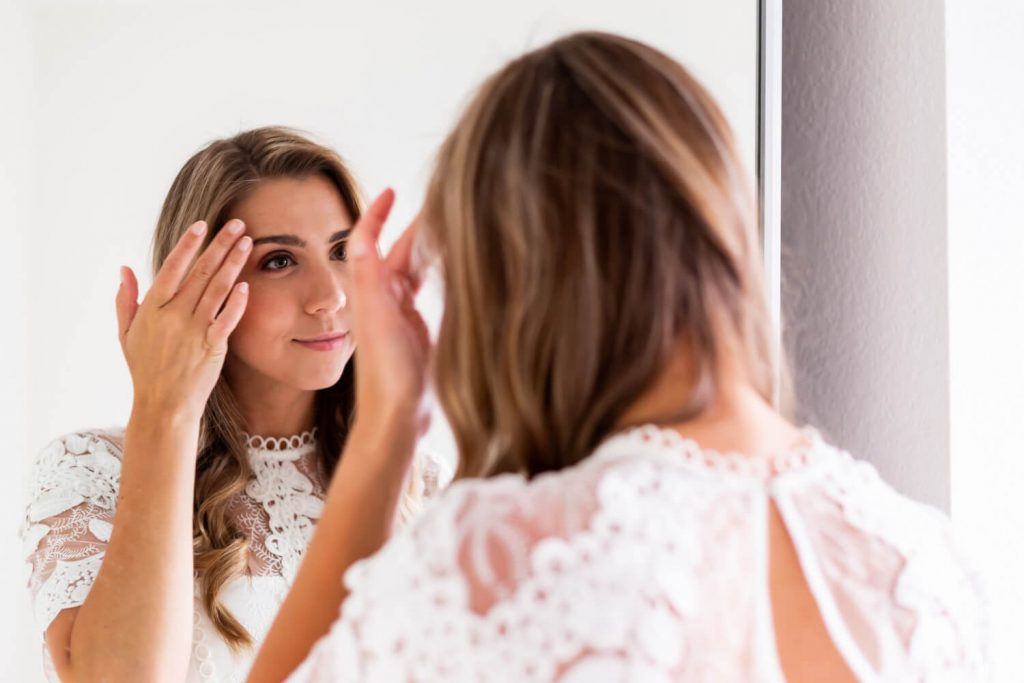 bride getting ready before southern california elopement