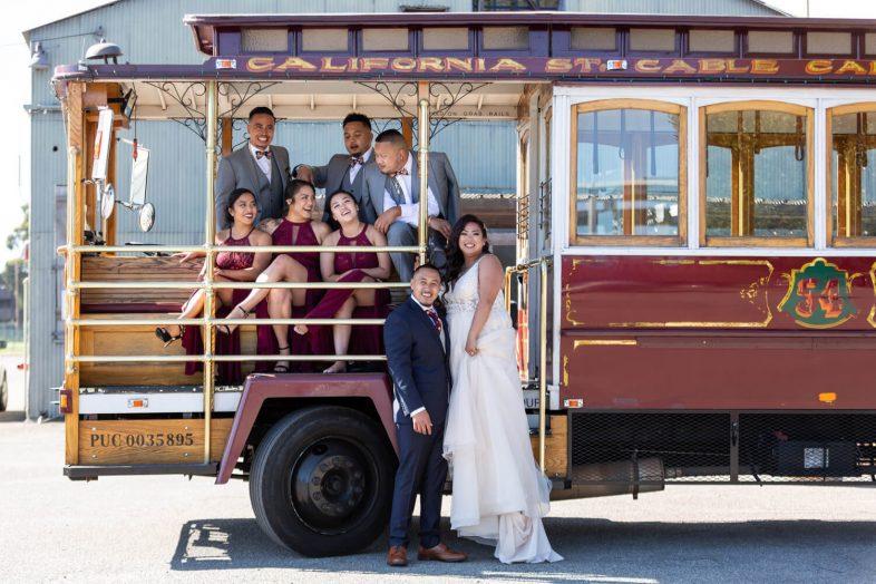 wedding portrait California cable car