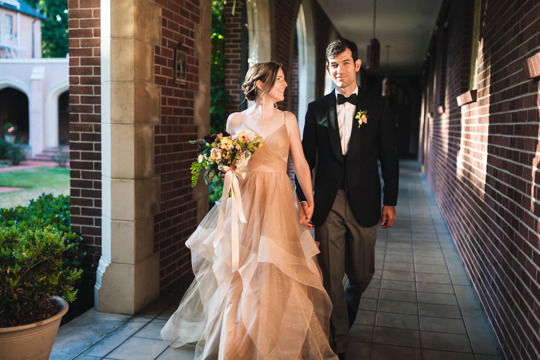 Newlyweds portrait bride in gold dress