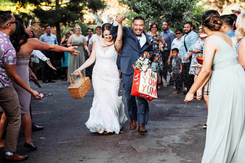 Newlyweds exiting wedding