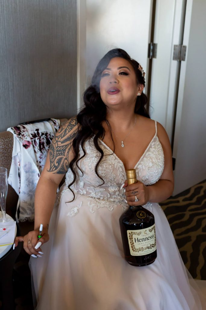 bride smoking and drinking whisky