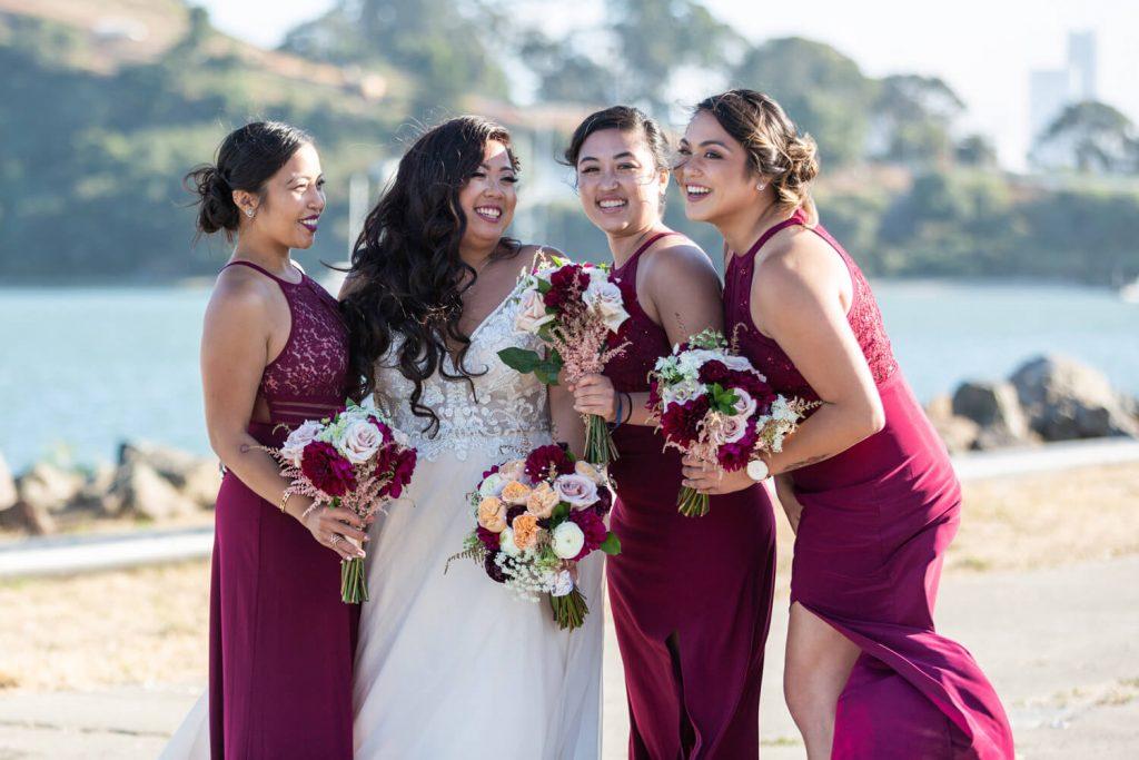 Burgundy bridesmaids dress