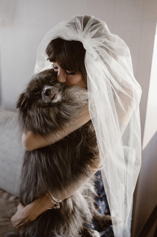 bride cuddles dog in veil
