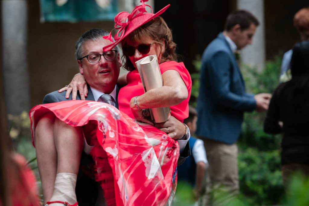 wedding guest carried out of venue